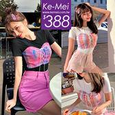 克妹Ke-Mei【ZT52128】KOREA名媛甜心假二件併接格紋釘釦馬甲造型上衣