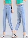天絲高腰牛仔褲女夏季薄款直筒寬鬆2021年春裝新款鬆緊腰老爹褲子 黛尼時尚精品