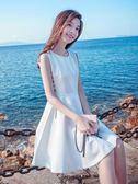 無袖洋裝 冷淡風韓版修身顯瘦學生小清新雪紡洋裝