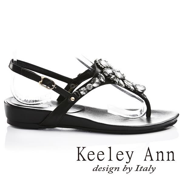 ★2017春夏★Keeley Ann盛夏光感~閃耀水滴晶鑽全真皮低跟T字夾腳涼鞋(黑色)
