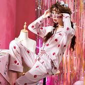 睡衣女士春秋季純棉長袖新款居家服套裝