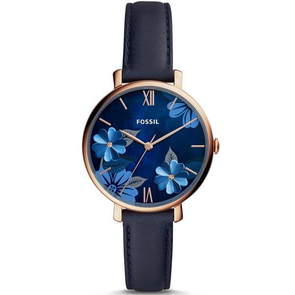【台南 時代鐘錶 FOSSIL】ES4673 Jacqueline花漾美學簡約三針時尚腕錶 皮帶 藍色 36mm