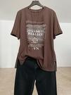 純棉磨毛字母印花T恤 圓領套頭休閒短袖上衣/4色-夢想家-0414