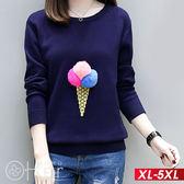 立體毛球冰淇淋針織圓領長袖上衣 XL-5XL O-ker歐珂兒 15399-1-C