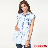 BOBSON女款綁花水洗長版衣(26130-58)