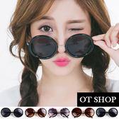 OT SHOP太陽眼鏡‧抗UV中性金屬鏡腳裝飾復古時尚歐美圓框墨鏡‧亮黑/茶色‧現貨2色‧F04