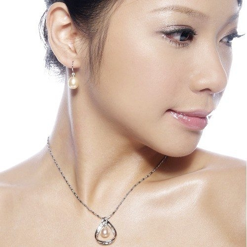 【La Finia】Angel Tear系列-天然粉橘珍珠耳環
