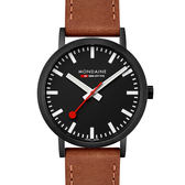 MONDAINE 瑞士國鐵Classic焦糖棕色腕錶-40mm/IP黑 66064BG