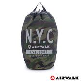 美國 AIRWALK N.Y.C. 網布尼龍大束口後背包-綠迷彩