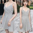 V領條紋細肩帶連身裙/小洋裝 2色【D927496】