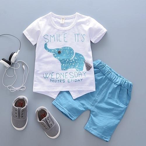 短袖套裝 大象字母 寶寶上衣+短褲 嬰兒童裝 CK11752 好娃娃