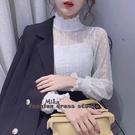 依Baby 雪紡衫 半高領蕾絲打底衫秋冬內搭新款洋氣小衫網紗上衣