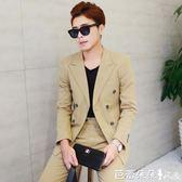 牛津紡 純色雙排扣修身西服外套 韓版休閒時尚小西裝