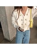 珍珠毛衣毛衣開衫女甜美復古長袖毛線外套顯瘦百搭珍珠扣薄款毛衫芊墨新品