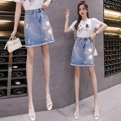 夏季牛仔半身裙短裙顯瘦破洞女白襯衫花朵短袖T恤5566#T455依佳衣