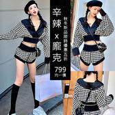 克妹Ke-Mei【AT56175】韓國東大門千島格深V上衣+繃帶高腰短褲套裝
