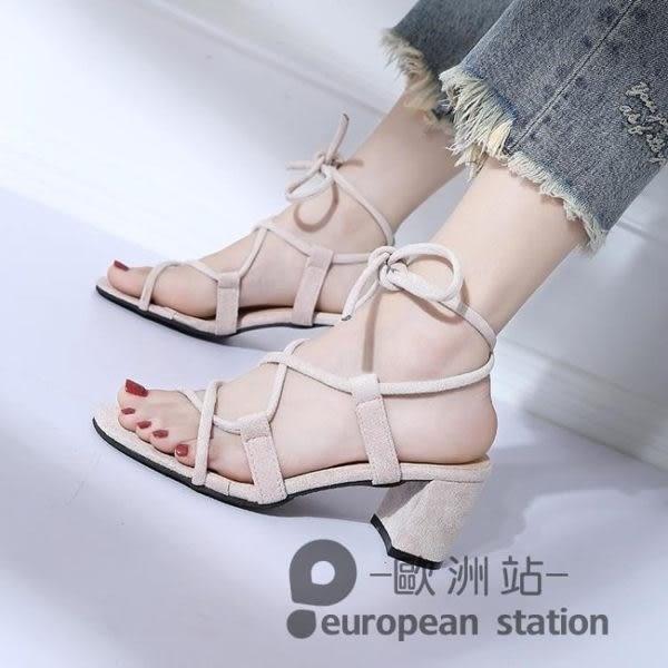 涼鞋/羅馬女夏綁帶粗跟高跟鞋繫帶復古「歐洲站」