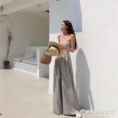 LGGSTYLE chic風高腰抹胸連身褲夏季新款復古顯瘦寬管褲女 時尚芭莎