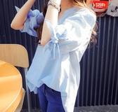 DE shop - 條紋V領短袖襯衫 - XA-6855