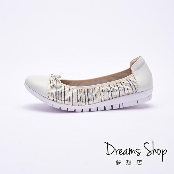 大尺碼女鞋-夢想店-MIT台灣製造金屬條紋蝴蝶結真皮娃娃鞋2.5cm(41-45)【PW2120】金色