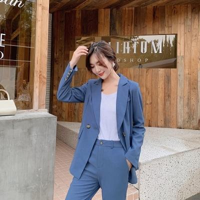 秋裝西裝外套女韓版顯瘦時尚氣質套裝兩件套928#潮紅粉佳人