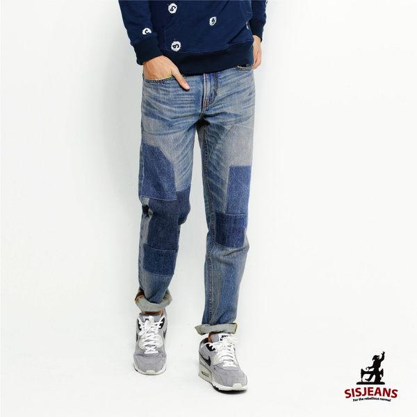SISJEANS-直筒復古水洗補丁牛仔褲【16171004】