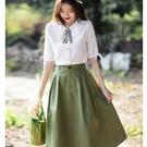 清新學院風透氣兩件套裝(五分袖上衣+綠裙)[99163-QF]美之札