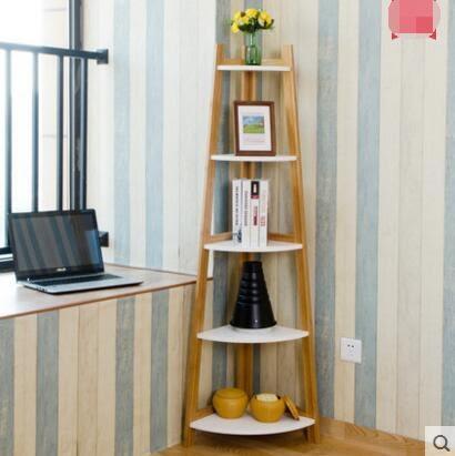 唯妮美歐式客廳靠牆上置物架創意家居落地隔板置物架裝潢架三角架 五層