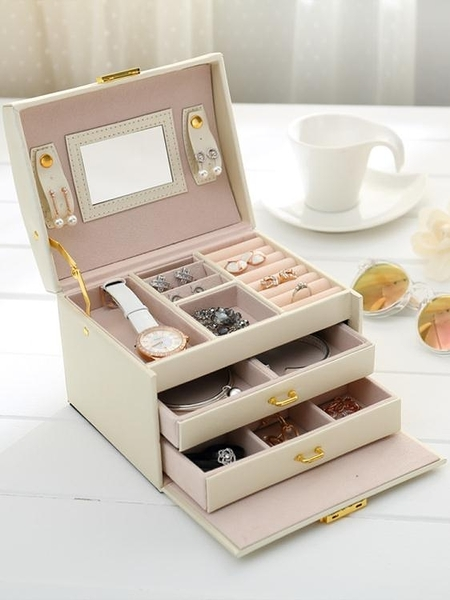 簡約木質首飾盒韓國飾品帶鎖收納盒耳釘戒指盒子 萬客居