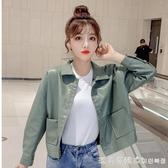 秋裝外套女2020新款女裝韓版POLO領單排扣皮衣短款寬松夾克上衣潮 美眉新品