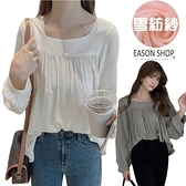 EASON SHOP(GW9629)韓版法式純色薄款寬鬆小百褶圓領泡泡袖長袖雪紡襯衫女上服打底內搭衫OL杏灰
