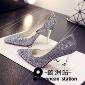 新款漸變銀色高跟鞋女細跟尖頭婚鞋新娘鞋婚紗亮片高跟「歐洲站」