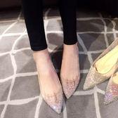 低跟鞋 平底網紗水鉆尖頭單鞋內增高平跟裸色尖頭鞋婚鞋 巴黎春天