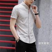 夏季新品格子襯衫男士短袖時尚男裝正韓修身潮流青年厚款襯衣M-3XL