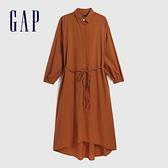 Gap女裝 簡約風格棉質襯衫式長袖洋裝 593826-銅色