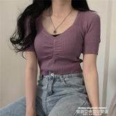 v領針織衫2020夏季新款V領法式復古短袖針織衫女韓國INS復古性感漏鎖骨上衣 萊俐亞