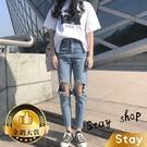 【Stay】韓版個性膝蓋大破洞直筒褲牛仔...
