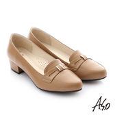 A.S.O 舒適通勤 真皮蝴蝶結奈米低跟鞋 卡其