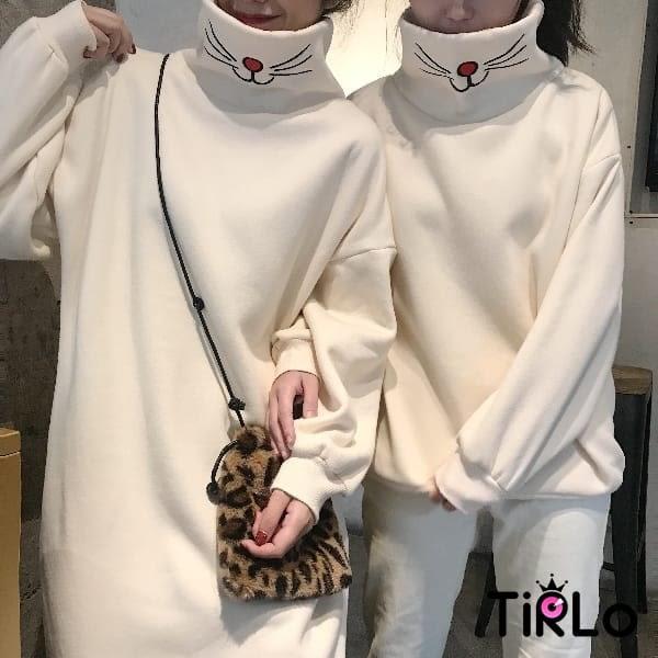 長T -Tirlo-韓版貓鬚刺繡高領刷毛T-兩色