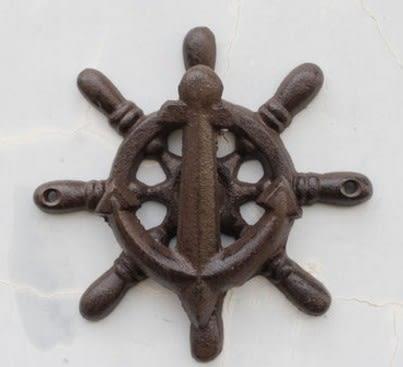 協貿國際鑄鐵庭院家居壁飾船舵1入