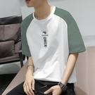 男士短袖 短袖男學生t恤寬鬆男圓領青少年韓版潮流男裝五分袖上衣服男半袖