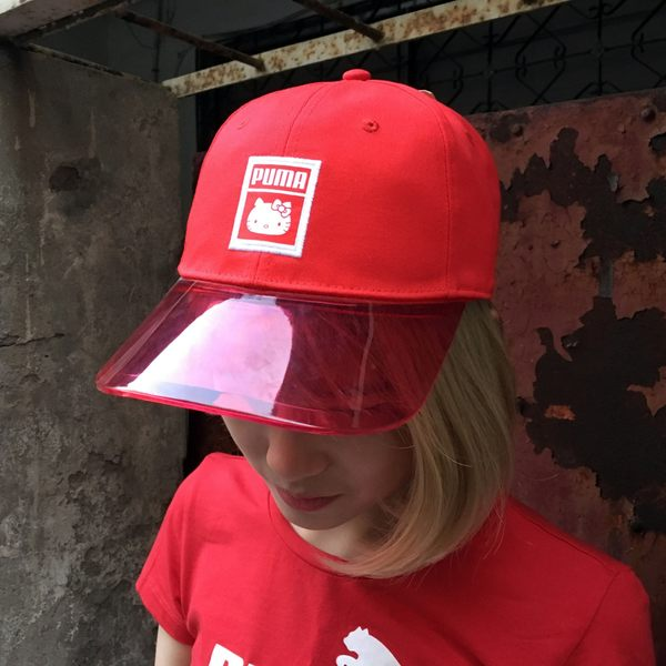 IMPACT PUMA X HELLO KITTY HAT 凱蒂貓聯名紅老帽透明帽簷後扣式021496 ... f7343be75f02