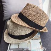 新款兒童帽韓版夏季夏款女男草帽潮寶寶草編爵士帽遮陽帽子   麥琪精品屋