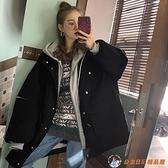 中長款拼接假兩件連帽長袖棉服外套女冬棉衣【公主日記】
