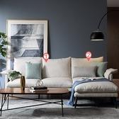 林氏木業輕奢現代可拆洗北歐L型布沙發(附抱枕)RAG1K-米白色