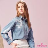 【SHOWCASE】亮片刺繡文藝風水洗牛仔長袖襯衫(藍)