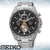 SEIKO 精工手錶專賣店 國隆 SSB281P1 三眼計時男錶 不鏽鋼錶帶 黑色錶面 防水100米 全新品 保固一年