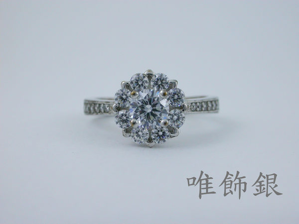 《LIZHA-唯飾銀》時尚925銀盤鑽鑽石顯大款30分0.30CT 擬真鑽女戒,【求婚戒伴娘戒】CAR0147