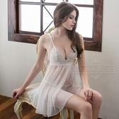 大尺碼Annabery純白雙層交疊薄紗二件式透視睡衣 《SV7688》快樂生活網