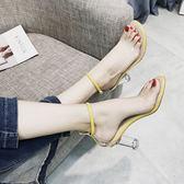 涼鞋2019新款女夏季韓版百搭透明高跟鞋一字扣中空學生露趾羅馬鞋